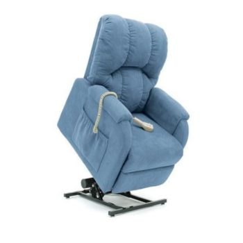 Pride C1 Petite artic blue electric life chair in lift position