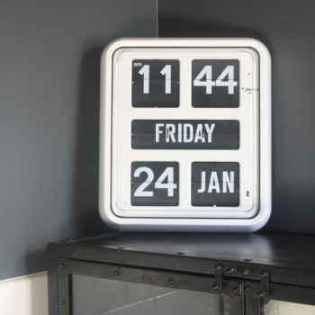 Large digital calendar clock with day of the week spelt in full and easily read from 20 meters
