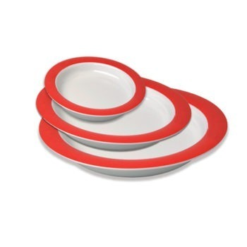 Ornamin plates in red and white