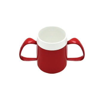 Ornamin mug with two handles in red and white