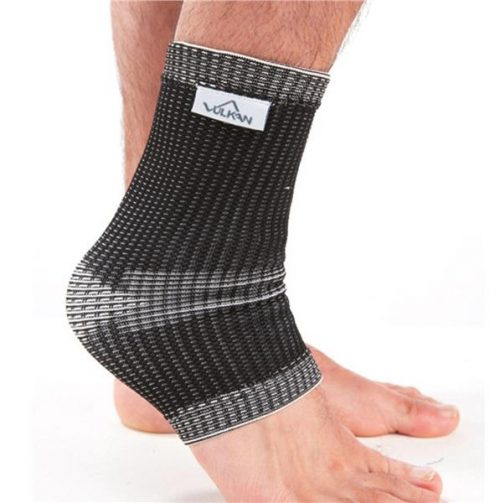 Vulkan elastic support shown in black on ankle