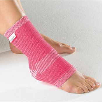 Vulkan elastic support shown in pink on ankle