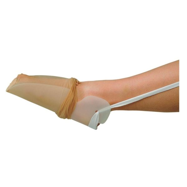 Dorkign stocking aid shown with stocking being pulled up on foot