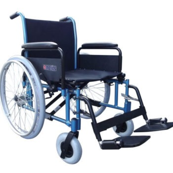 Merits lightweight bariatric wheelchair in black wtih blue frame
