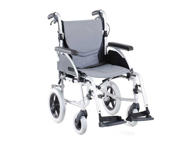 Merits L436 transit wheelchair with quick release wheels and flip up, detachable armrests.