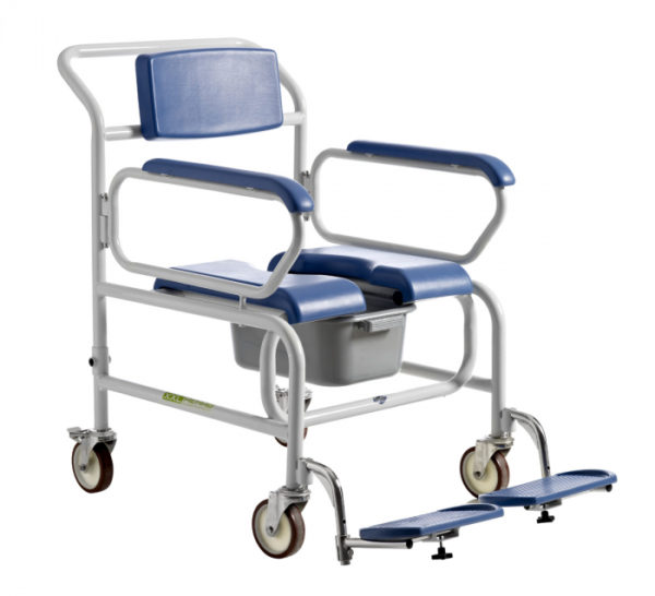 XXL-Rehab Shower Commode for bariatric users, attendant propelled