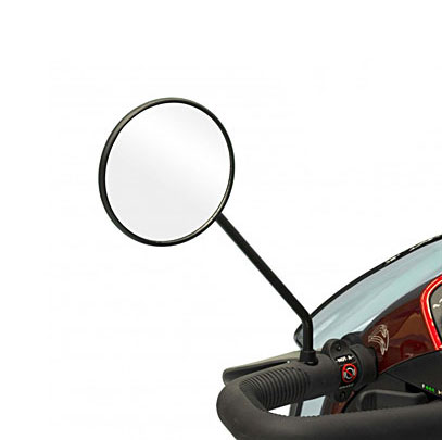 rear view mirror on left handlebar of mobility scooter
